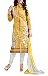 Trendy Fashion Women's Chanderi Cotton Unstitched Dress Material (TF-0004Dark yellow_Free Size)