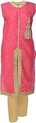 Urban Kings Women's Georgette Salwar Suit (PINK-001_L, Pink, L)