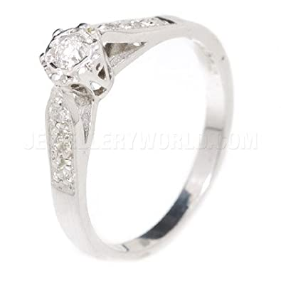0.20ct Diamond 9ct White Gold Engagement Ring with Tapered Shoulders
