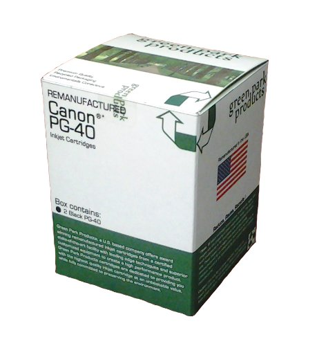 Green Park Products Canon PG 40 2 Pack Premium Remanufactured Ink Cartridges The box contains 2 Canon PG 40 Black inkjet Cartridges For use with the following printers Canon PIXMA iP1600 Canon PIXMA iP1700 Canon PIXMA iP1800 Canon PIXMA iP2600 Canon PIXMA