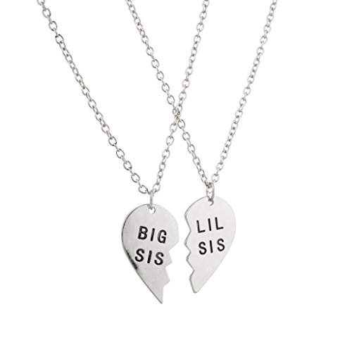 Lux Accessories Big Sis Lil Sis Little Sister BFF Best Friends Forever Necklace Set (2 PC). (Lil Girls Necklace compare prices)