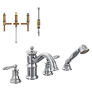 Moen krtwa dh ts213cr waterhill 8 7 8 inch roman tub faucet with hand shower chrome bathtub Amazon bathroom faucets moen