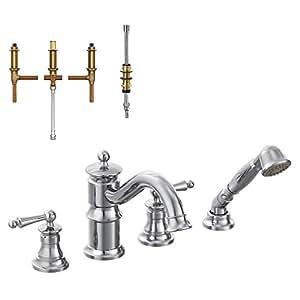 Moen Krtwa Dh Ts213cr Waterhill 8 7 8 Inch Roman Tub Faucet With Hand Shower Chrome Bathtub
