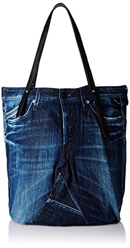 Replay FW3329.005.A0181A, Borsa shopper donna, Nero (Schwarz (BLUE BLACK DENIM-BLACK 901)), 50x60x1 cm (B x H x T)
