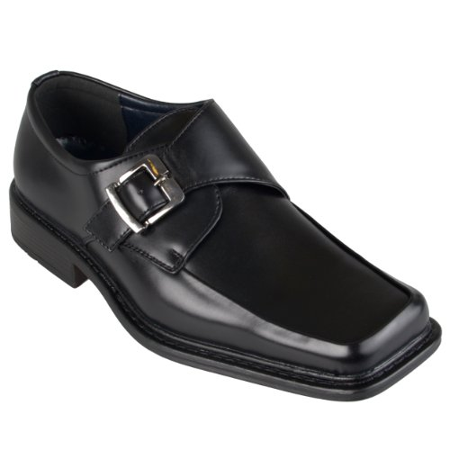Daxx Mens Square Toe Buckle Detail Loafers Black 10.5