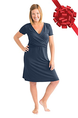 Kindred Bravely The Angelina Ultra Soft Maternity & Nursing Nightgown Dress (Navy Blue, Large)