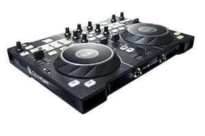 Hercules DJ4Set - Contrôleur DJ USB pour PC et Mac avec 2 plateaux à détection de pression. Table de mixage gérant 2 à 4 platines.