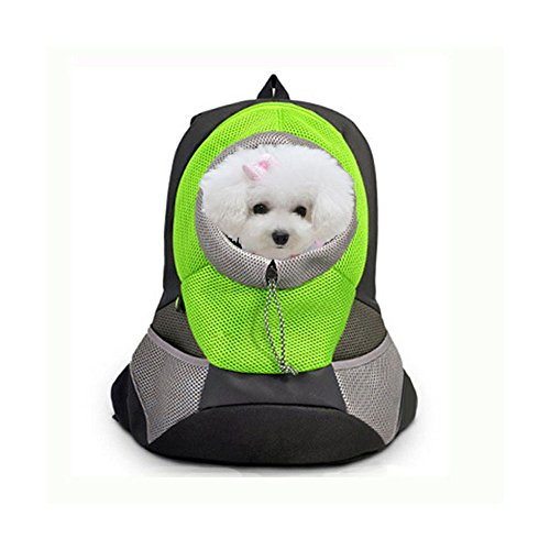 Kocome Pet Front Head out Carrier Dog Cat Puppy Travel Bag Mesh Backpack Outdoor Bag (S, Green)