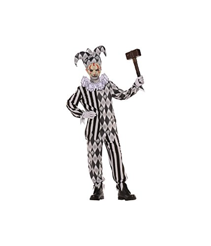 Scary Evil Harlequin Clown big Boys Costume