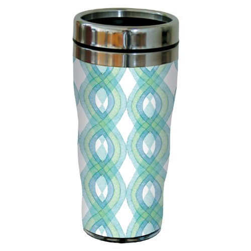 Tree-Free Greetings Sg23659 Unique Turquoise Wave Forms By Shell Rummel Sip 'N Go Stainless Steel Lined Travel Tumbler, 16-Ounce
