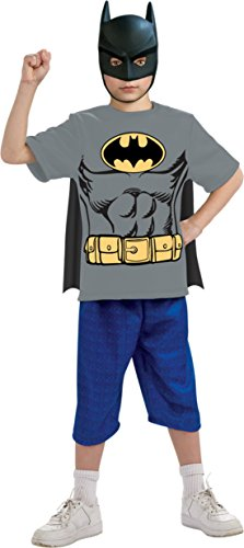 Boys Batman Shirt Mask Cape Kids Child Fancy Dress Party Halloween Costume
