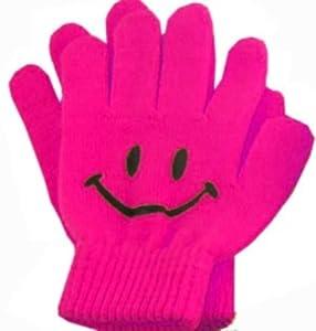 Amazon.com: Pink Children Smiley Face Gloves Winter Smile