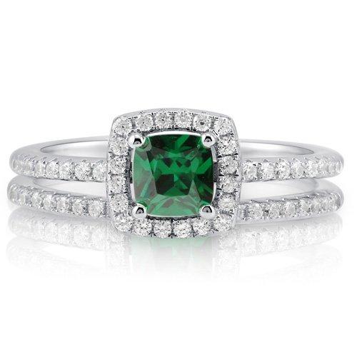 Cushion Emerald CZ Sterling Silver 2-Pc Halo Bridal Ring Set 0.46 ct - Nickel Free Engagement Wedding Ring Set Size 4
