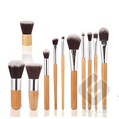 Mygal 11PCS Style Master Bamboo Handle Makeup Brush Brushes Cosmetic Powder Kit Set With Bag