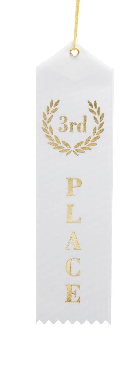 3rd Place (White & Gold) Award Ribbons with a Card & String (24 Pack) customize white laser cut lace ribbons bow wedding invitation kit blank printing invitations card set green inside paper