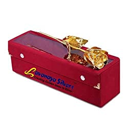 Lavanaya Silver certified 24 kt Golden Rose 10 inch (y) with exclusive golden love stand free worth 299/-