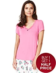 V-Neck Lace Neckline Pyjama Top
