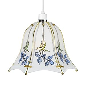 Vintage Style Brass Gold & Blue Floral Glass Ceiling Light Lamp Shade