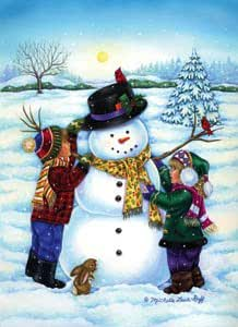 Winter Day Kids Making Snowman Mini Flag
