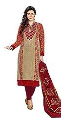 RK Fashion Womens Cotton Un-Stitched Salwar Suit Dupatta Material ( YOGESH-MCM-LIFESTYLE-SANA-144-Orange-Free Size)