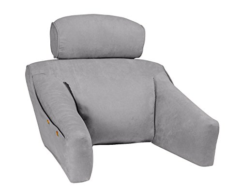 BedLounge - Regular Size - Hypoallergenic- Microsuede Cover, Cool Gray Color: The Ultimate Reading Pillow, Back Support Pillow, TV Pillow and More
