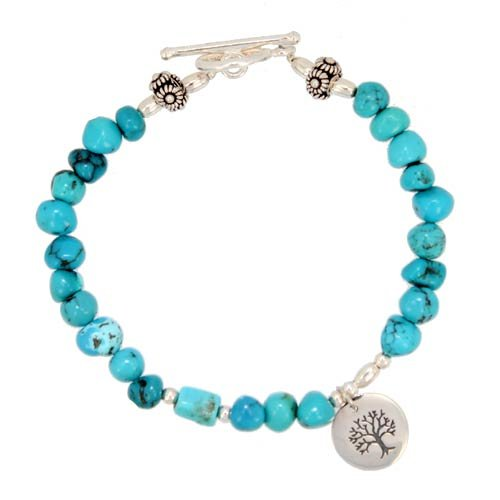 Turquoise Nugget Gemstone Bead and Sterling Silver Tree of Life Charm Toggle Bracelet with Flower Beads, 7 3/8