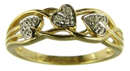 9ct Yellow Gold Ladies Celtic Style Diamond Set Leaf and Interlacing Stem Ring