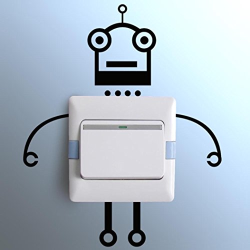 Ussore Wall Stickers Robot switch stickers Light Switch Decor Decals Art Mural Baby Nursery Room Bedroom (Personalized Wall Decal Robot compare prices)