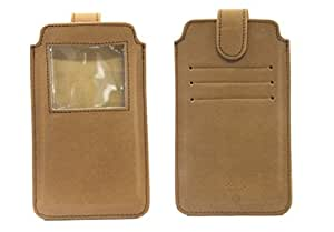 Jo Jo A10 Nillofer Leather Carry Case Pouch Wallet S View For HTC One mini 2 Tan