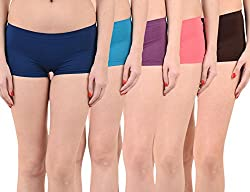 Mynte Women's Sports Shorts (MEWIWCMBP-105-104-103-102-100, Blue, Purple, Pink, Black, , Free Size, Pack of 5)