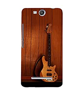 printtech Wooden Guitar Back Case Cover for Micromax Canvas Juice 3 Q392