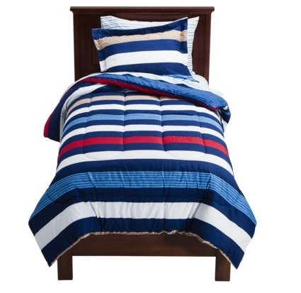 Rugby Stripe Full Comforter & Sheet Set (7 Piece Bed In A Bag) Red White Blue