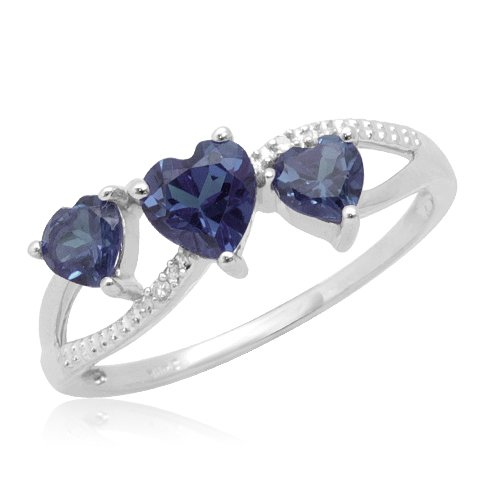 10k White Gold Heart Shaped Created Ceylon Sapphire Heart Ring