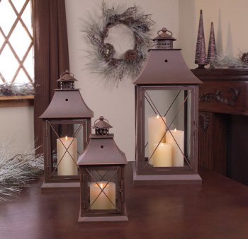 Set of 3 Cottage-Style Brown Pillar Candle Holder Lanterns 24″