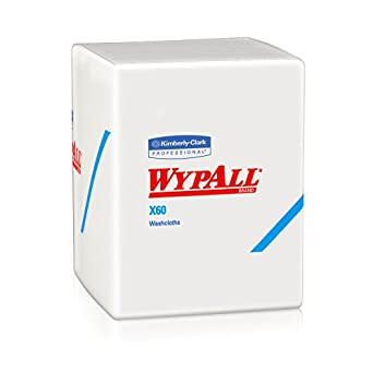 Wypall X60 Hygienic Wipes (41083), Disposable Soft Washcloths & Drying Towels, White, 8 Containers / Case, 70 Sheets / Container