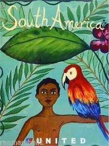 LanLan South America Parrot Macaw Airplane Vintage Travel Advertisement Art Poster