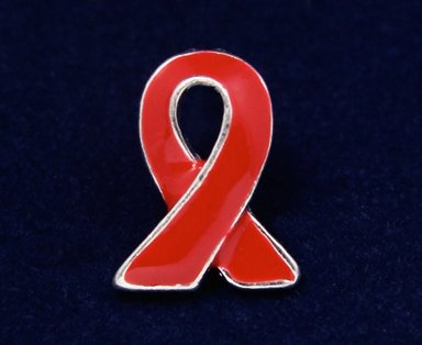 Red Ribbon Pin - Silver Trim Tac (50 Pins)