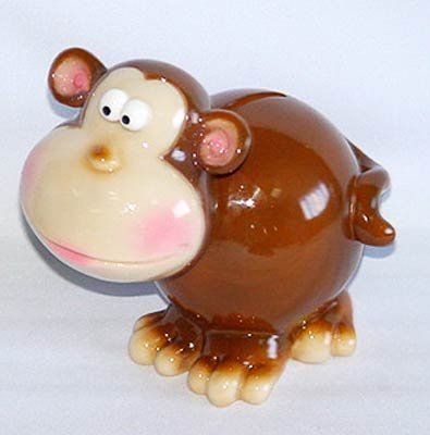 Bobble Head Monkey Piggy Bank - Funny - 1