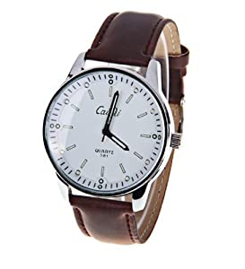 CaiQi Unisex Watch White Dial Dark Brown Leather Band Wrist Watch 581
