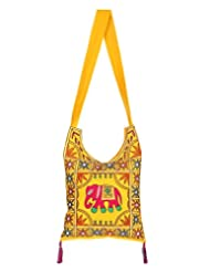 Rajrang Bags For Womens Elephant Printed Cotton Embroidered Work Yellow Sling Bag