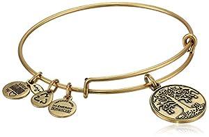 "Alex and Ani Bangle Bar ""Tree of Life"" Rafaelian Gold Finish Expandable Bracelet"