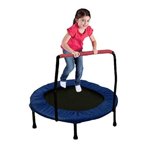 36-Foldable-Trampoline-with-Handle-Black-Metal-with-Nice-Blue-Cover