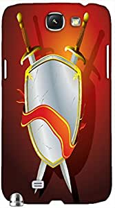 Timpax Light Weight One-piece construction Hard Back Case Cover Printed Design : Sword and shield.100% Compatible with Samsung Galaxy Note 2