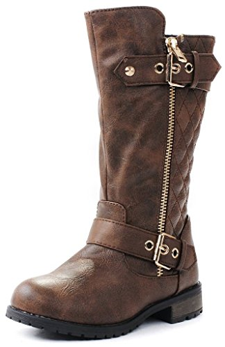 Kids Girls Mango21 Brown Dual Buckle/Zipper Quilted Mid Calf Motorcycle Boots-11