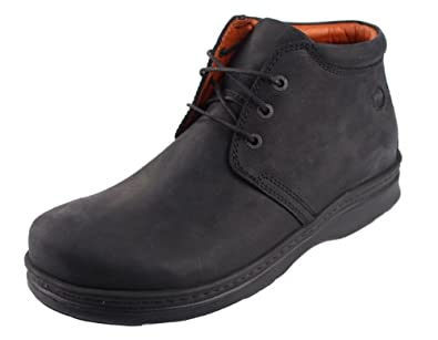 Footprints by Birkenstock Destin Leather Lace Up Boots (45.5 EU/US Men 12.5, Black)