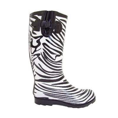 Black White Zebra Wellies Wellington Rain Festival Welly Boots