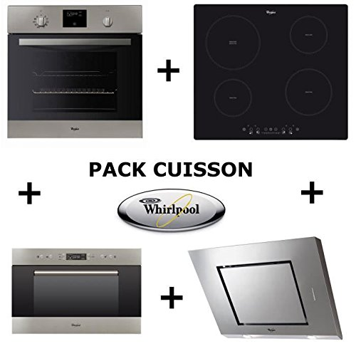 WHIRLPOOL-Pack-cuisson-Four-pyrolyse-Table-induction-Hotte-Micro-ondes-encastrable-WHIRLAMW703IX