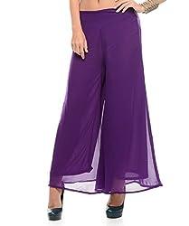 Stop Look Women's Georgette Palazzo(Stoplookplz_PPL_Purple_M)