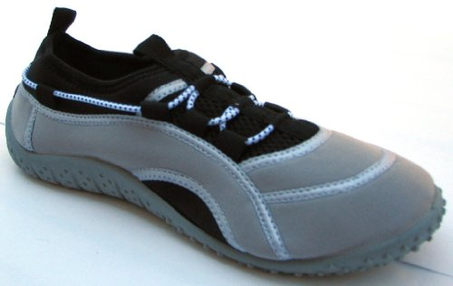 Aquatik Men and Women Aqua Water Shoes Beach Shoes with Lace fit System AD2280L Women 8 Black