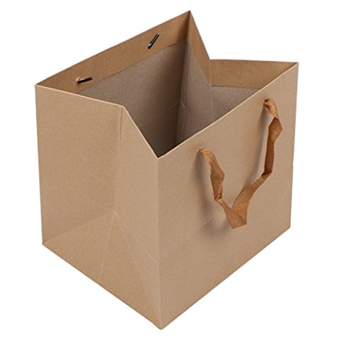 LeeDargon 13 X 13 X 13 Inch Brown Kraft Paper Gift Shopping Handle Bags for Package